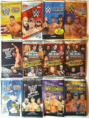 WWE 63 EMPTY card PACKS / WRAPPERS all different 2001 - 2016 Topps / Fleer