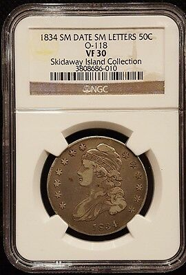 1834 Capped Half Dollar, Small Date, Small Letters 50C O-118 VF30 NGC (Z161)