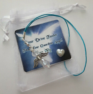 Crystal Glass Drivers Guardian Angel Charm LUCKY gift mirror CAR BAG KEY