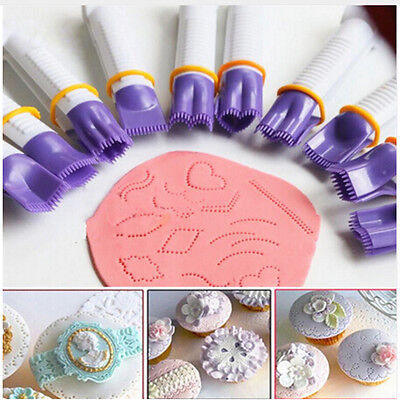 10x Set New Plastic Curve Crimpers Style Lace Edge Sides Clip Pastry Cake Decors