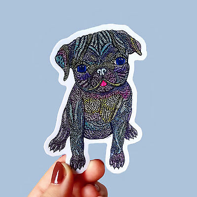 "Vinyl Sticker ""Pug"" Waterproof Sticker Dog Decal Laptop Car Bumper Phone"