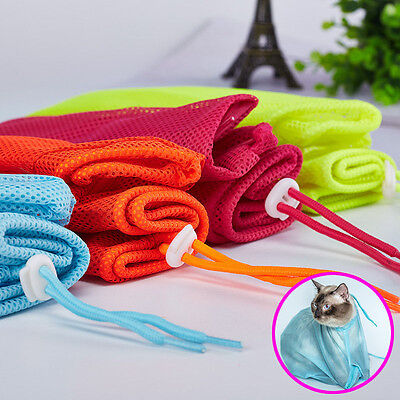 Pet Cat Grooming Bag Nails Cutting Baththing Restraint No Scratching Bite Mesh