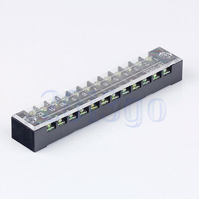 12 Position 15A 600V Barrier Dual Row Terminal Block/Strip with Cover CG