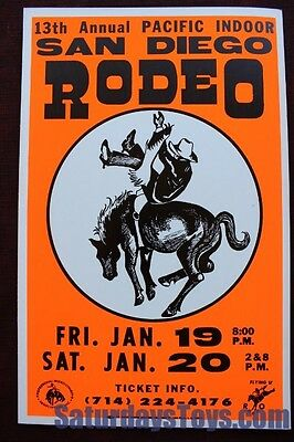"1979 Pacific Indoor RODEO POSTER San Diego Sports Arena 14"" x 22"" Colby Printing"