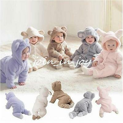 One-piece Baby Boy Girl Flannel Bodysuit Hoodie Romper Jumpsuit Animal Costume