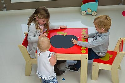 Labebe Kids Red Apple Wooden Table and 2 Chairs Student furniture Baby XMAS Gift