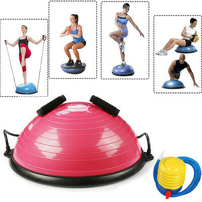 58CM Bosu Ball Yoga Balance Trainer Fitness Exercise Workout w/ Resistance Bands