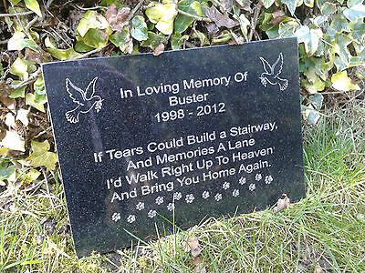 Personalised Dog Memorial Plaque Grave Marker Headstone Granite