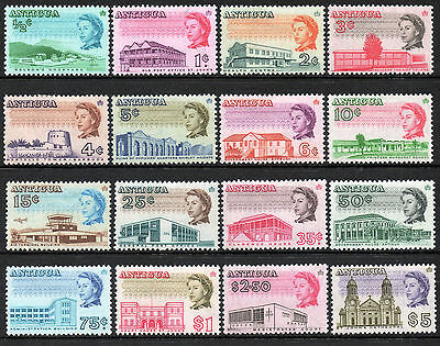 Commonwealth Antigua 1966 QEII set of mint stamps value to $5 LMM
