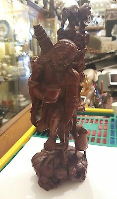 Large beautifully chinese Hand Carved Wooden Statue of a man, zoomorphic!
