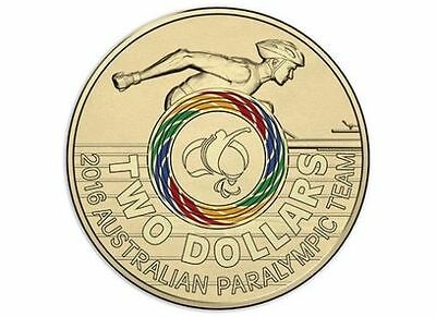 MULTI-COLOURED $2 Two Dollar Australian Issue RIO 2016 Paralympic Games Coin UNC