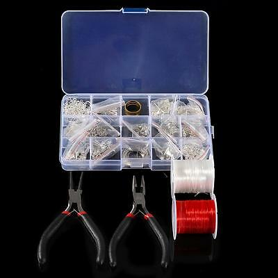 DIY Silver Plated Jewellery Making Starter Kits Beads Pliers Chain Tools+Box