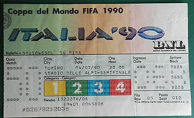 1990 WORLD CUP FINALS - MATCH TICKET. ENGLAND vs. GERMANY. SEMI FINAL 4/7/1990