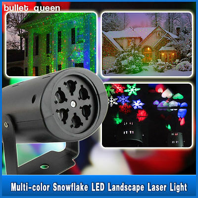 Moving Sparkling LED Snowflake Landscape Laser Projector wall Lamp Xmas Light US