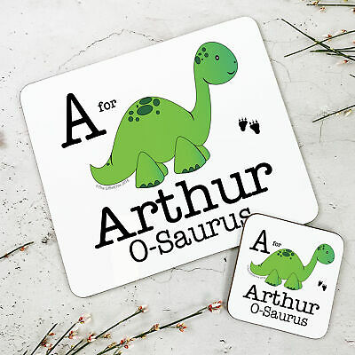 Personalised Kids New Green Dinosaur Wooden Glossy Placemat and Coaster Set