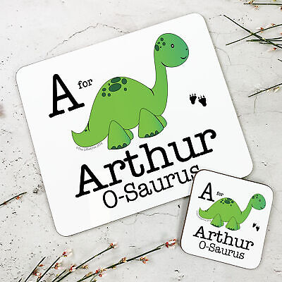 Personalised Wooden Glossy Green Dinosaur Placemat & Coaster Set for Kids