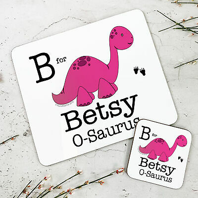 Personalised Wooden Glossy Pink Dinosaur Placemat & Coaster Set for Kids