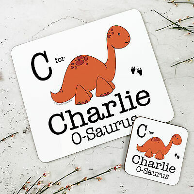 Personalised Kids New Orange Dinosaur Wooden Glossy Placemat and Coaster Set
