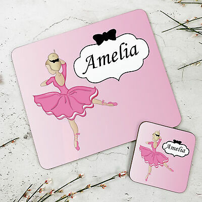 Personalised Wooden Glossy NEW Ballerina Placemat & Coaster Set for Kids