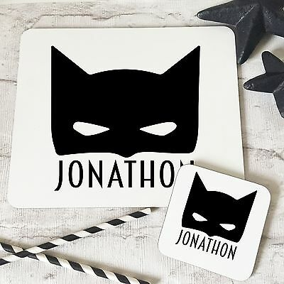 Personalised Wooden Glossy BatKid Placemat & Coaster Set for Kids
