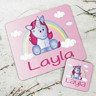 Personalised Kids New Cute Unicorn Wooden Glossy Placemat and Coaster Set