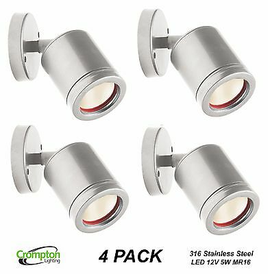 4 x 316 Stainless Steel LED Outdoor Adjustable Wall Light 12V 5W MR16