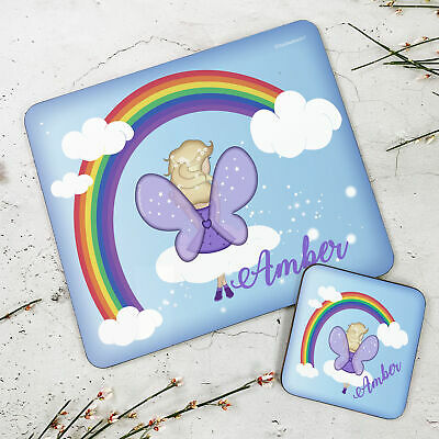 Personalised Wooden Glossy Fairy Placemat & Coaster Set for Kids