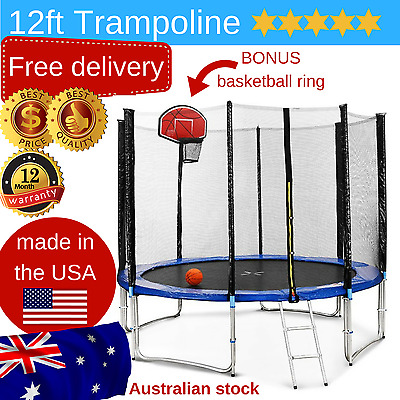 12ft round trampoline safety net spring cover ladder basketball ring made in USA