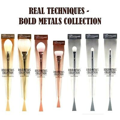 REAL TECHNIQUES Bold Metal Makeup Brushes Blush 7pcs Set Full Kit Collection UK