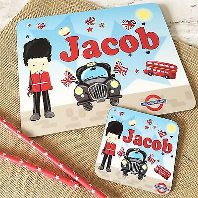 Personalised Wooden Glossy London Placemat & Coaster Set for Kids