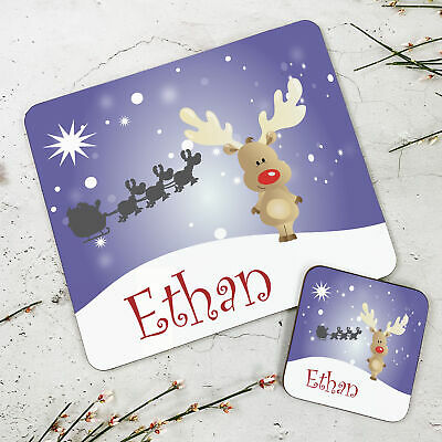 Personalised Kids New Christmas Reindeer Wooden Glossy Placemat and Coaster Set