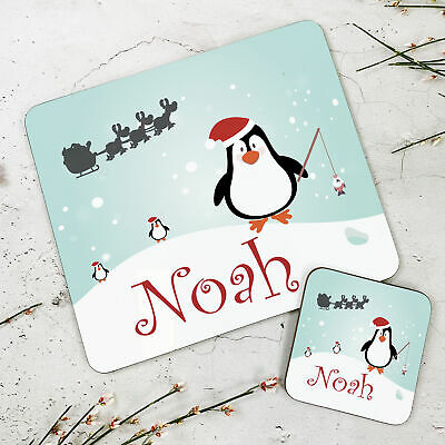 Personalised Kids New Christmas Penguin Wooden Glossy Placemat and Coaster Set
