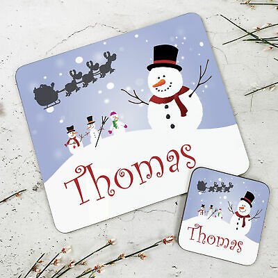 Personalised Kids New Christmas Snowman Wooden Glossy Placemat and Coaster Set