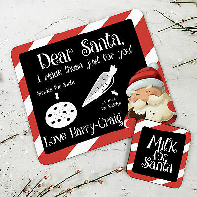 Personalised Kids New Christmas Chalkboard Wooden Glossy Placemat and Coaster
