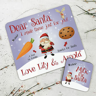 Personalised Kids New Santa Snack Wooden Glossy Placemat and Coaster Set