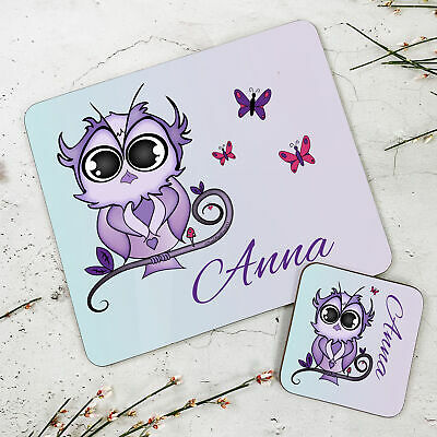 Personalised Kids New Purple Owl Wooden Glossy Placemat and Coaster Set