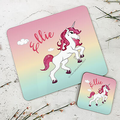 Personalised Kids New Unicorn Wooden Glossy Placemat and Coaster Set