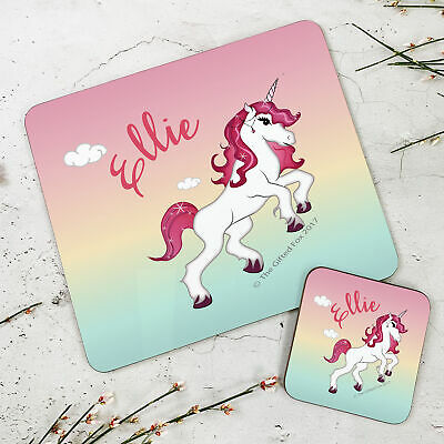 Personalised Wooden Glossy NEW Unicorn Placemat & Coaster Set for Kids