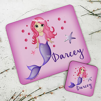Personalised Wooden Glossy Little Mermaid Placemat & Coaster Set for Kids