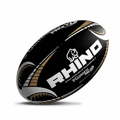 Guinness Pro 12 Official Supporters Rugby Ball, Black With White And Gold Trim