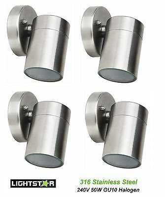 4 x 316 Stainless Steel Halogen Outdoor Exterior Fixed Wall Light 240V 50W GU10