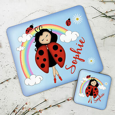Personalised Kids New Ladybird Wooden Glossy Placemat and Coaster Set