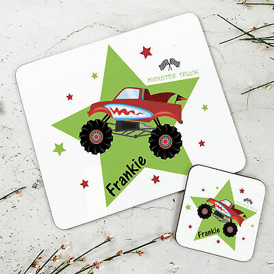 Personalised Kids New Monster Truck Wooden Glossy Placemat and Coaster Set