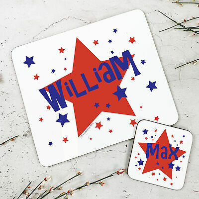 Personalised Kids New Red Stars Wooden Glossy Placemat and Coaster Set