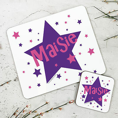 Personalised Kids New Purple Stars Wooden Glossy Placemat and Coaster Set