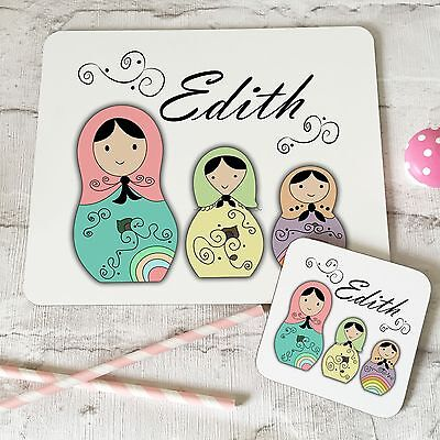 Personalised Wooden Glossy Russian Dolls Placemat & Coaster Set for Kids