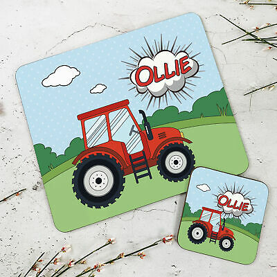 Personalised Wooden Glossy Tractor Placemat & Coaster Set for Kids