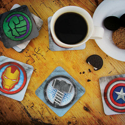Marvel 3D 8 Coasters Dining Drink Bar Avengers Character Christmas Decor Gift