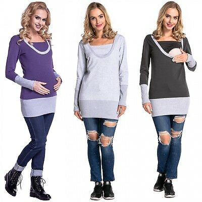 Happy Mama. Women's Nursing Layered Sweatshirt Contrast Details Maternity. 457p