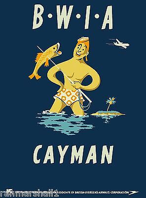 Cayman Islands Caribbean Island by Air BWIA Travel Advertisement Art Poster